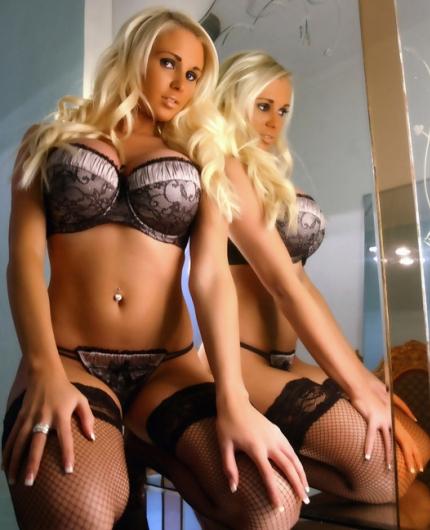 Cara Brett in the mirror