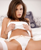 Little Caprice white stockings