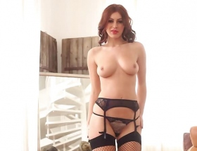 Summer St Claire fishnet stockings